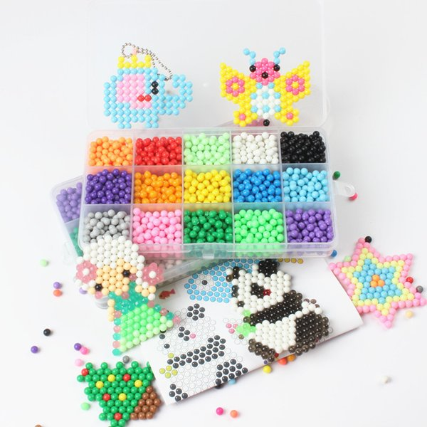 15 Color Water Spray Beads 3D Puzzles Kids Toy Fuse Beads Jigsaw puzzle 1800pcs Beads Educational Toys Pegboard Set Brinquedos