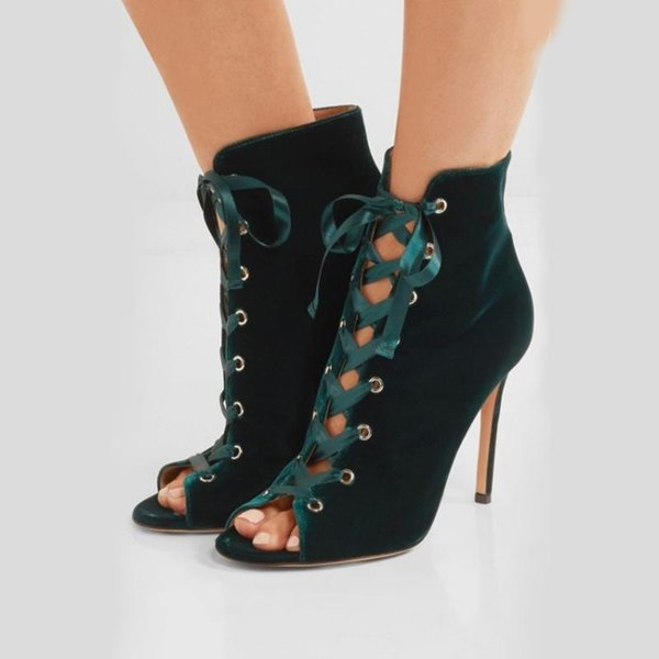 2018 summer and fall Cowboy Boots blue Denim jeans sexy high heels ankle boots 10cm peep toe fashion satin shoes for woman stilettos