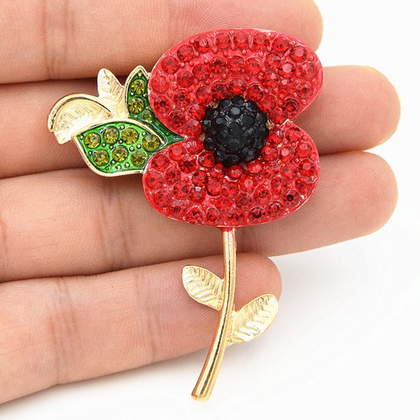 Fashion Jewelry Gold and Silver Plated Tone Rhinestone Red Rhinestones British Remembrance Day Poppy Flower Brooch UK Remebrance Day Gift