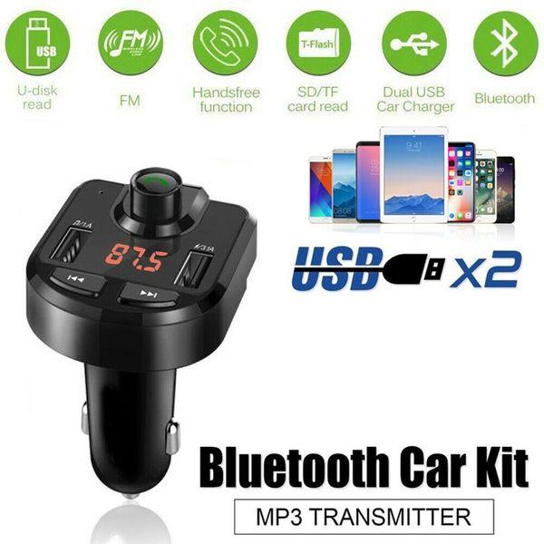 FM Transmitter Bluetooth Car Kit Wireless Radio Adapter USB Charger Mp3 Player
