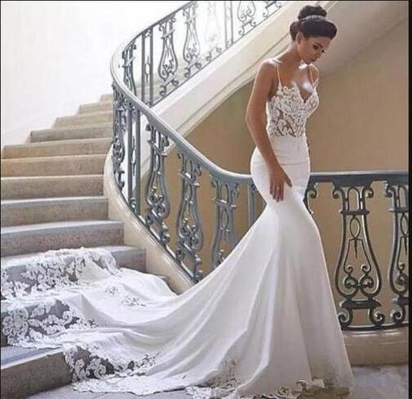Vestido De Noiva spaghetti Berta Mermaid Wedding Dresses Summer boho High Neck Sheer Lace Applique Backless Bridal Gowns