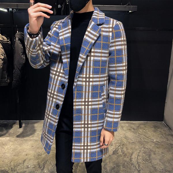 Blue Plaid Casaco Masculino Long Wool Coat Mens Winter 2018 Check British Style Long Jacket Mens Fashion Trench Coats Men
