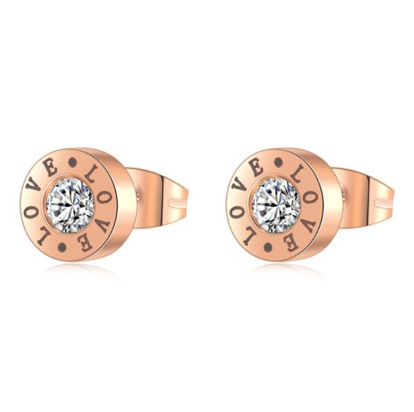Fashion Women Lady Stainless Steel LOVE Earrings With Zirconia Stone IP Rose Gold Plated 316L Surgical Steel