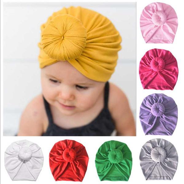 2019 New Donut Baby Hut Neugeborenen elastischer Baumwolle Baby Mütze Cap Bow Multi Color Infant Turban Hüte Baby Stirnband