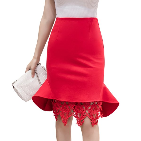 3d1952df57 Solid Color Lace Patchwork Women's Skirt High Waist Sexy Bodycon Hip  Package Skirts Swallowtail Hem Skirt Plus Size Office Saias
