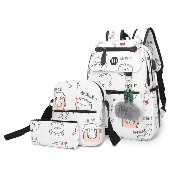 Nice USB Charging Canvas Backpack 2 Pcs/set Women School BackpacSchoolbag For Teenagers Man Student Book S Satchel