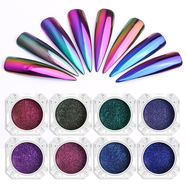 Tamax na005 chrome mirror powder nail art glitter chameleon pigment powder manicure nail tip decoration acce orie gel poli h du t