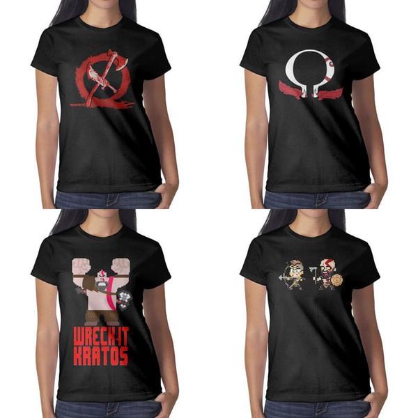 Womens design impression God of War Boy et père Pixels t-shirt noir personnalisé graphique faire un chemises amis chemise imprimé sport