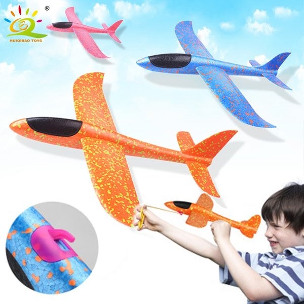 35CM Hand Throw Flying Glider Plane Foam Aeroplane Toys Launch Fillers Bubble Airplane Model DIY Interactive Toys For Children