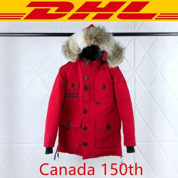 Canada goose Top Quality Canadá 150th Brasão Marca dos homens do desenhista Down Jacket Parkas Mulheres Winter Red Black White XS-2XL