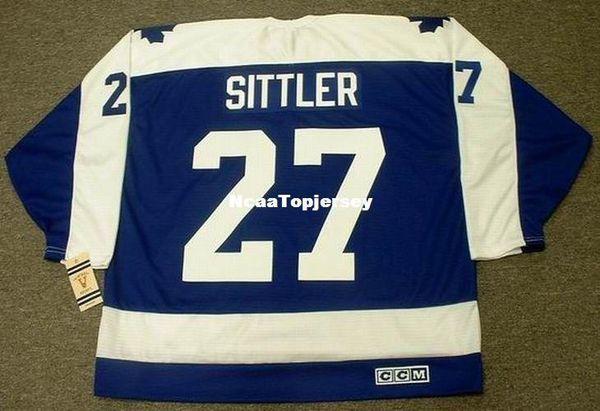 Personalizado Mens Jérsei # 27 DARRYL SITTLER Toronto Maple Leafs 1978 CCM Vintage Barato Retro Hóquei Jersey