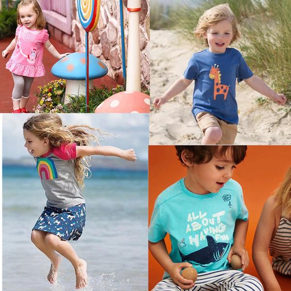 Baby Girls Embroidery Summer Infant Cotton Striped Children Girls Tee Cartton Elephant Heart Rainbow Flower Short Sleeve T-shirts For Kids