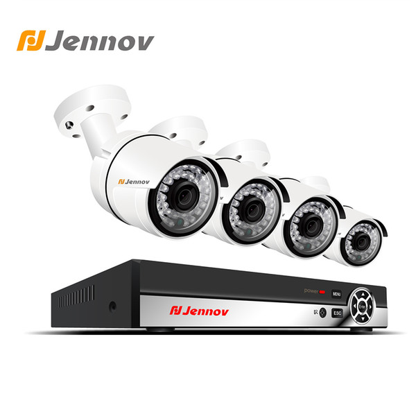 Jennov 4CH 1080P 2MP Camera POE Security Camera System Video Surveillance Kit IP HDMI P2P NVR Set Cloud Remote View Night Vision