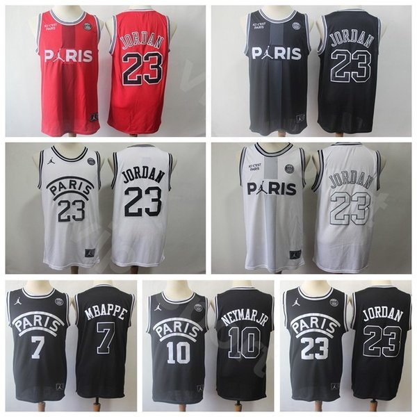 fresh styles top quality best choice 2019 New Paris Saint Germain PSG AJ Jerseys Basketball 23 Michael 7 Kylian  Mbappe 10 JR Black White Red Stitched Quality Good For Mens From Vip_sport,  ...