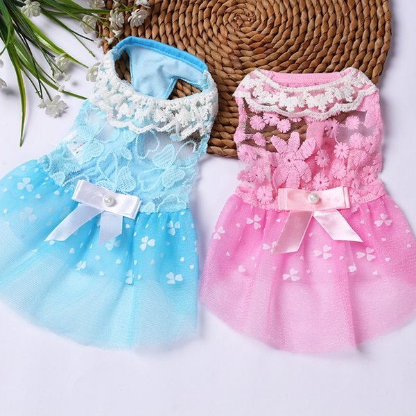Small Dog Princess Dress Spring Summer Pet Puppy Clothes Skirt for teddy Dog Apparel Pink Blue XS S M L XL