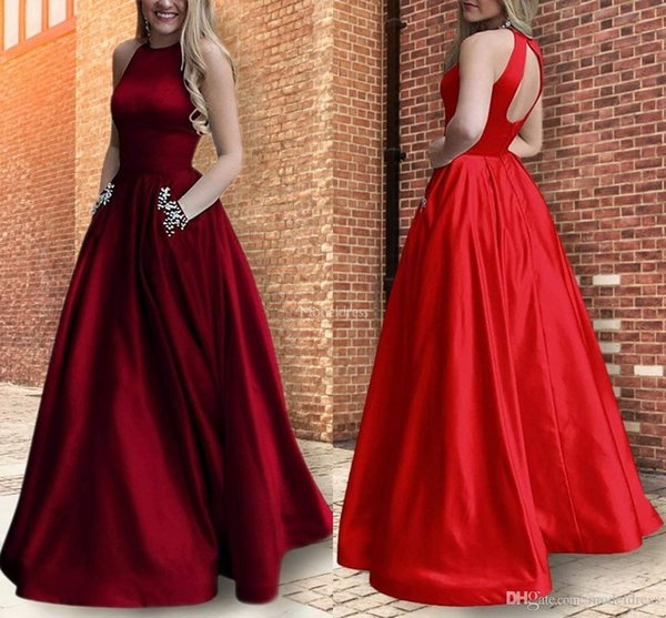 Sexy Elegant Evening Dresses A Line Jewel Neck Beads Open Back Formal Party Prom Gowns With Pockets Special Occasion Dress Vestidos