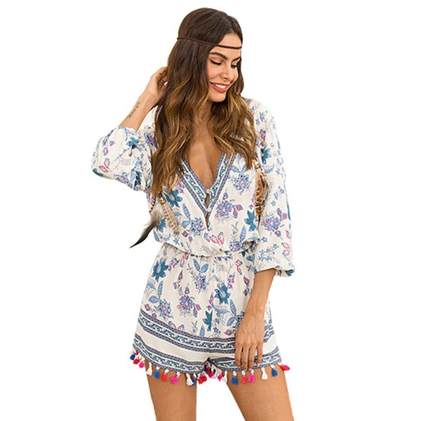 2019 hot selling women's new three quarter sleeve sexy v-neck floral print jumpsuits tassel dress casual summer