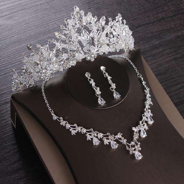 Luxury Heart Crystal Bridal Jewelry Sets Wedding Cubic Zircon Crown Tiaras Earring Choker Necklace Set African Beads Jewelry Set
