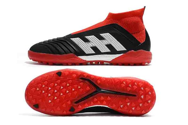 2019 cheap mens leather soccer shoes Predator Tango 18 IC TF turf football boots indoor soccer cleats chuteiras Pogba Black&Red