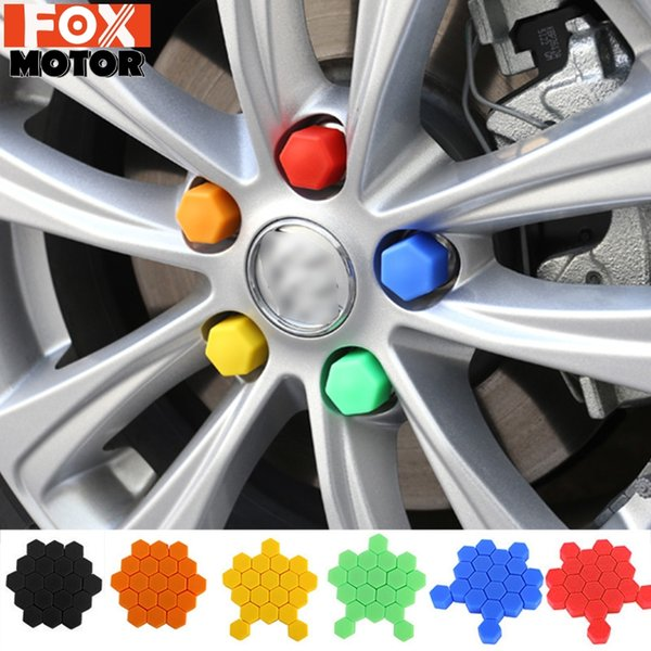 Black, 19 Car Decorative Rust Protection Silicone Dust-proof Lug Nut Cap Styling Nut Cover Hub Bolt Car accessories Interior Wheel Covers 17mm 19mm 21mm