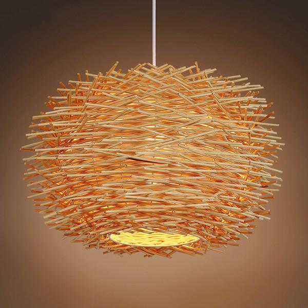 vimini Rattan Ferro luce del pendente sospensione fatta a mano forma di nido di uccello luce illuminazione appeso bar ristorante centro commerciale portico Light Fixtures