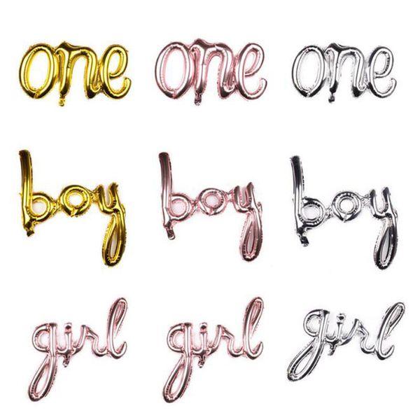 One Boy Girl Script Foil Balloon Baby Shower 1ª Birtdhay Decoraciones de fiesta Género Reveal Globo Banner Decoración QW9708