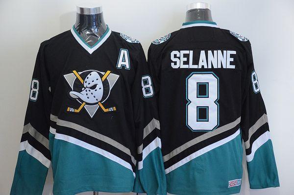 Maillots de hockey Vintage personnalisés sur mesure Anaheim Mighty Ducks 8 Teemu Selanne 9 Paul Kariya 35 Jean-Sébastien Giguère 13 Selanne 1998 CCM Maillot