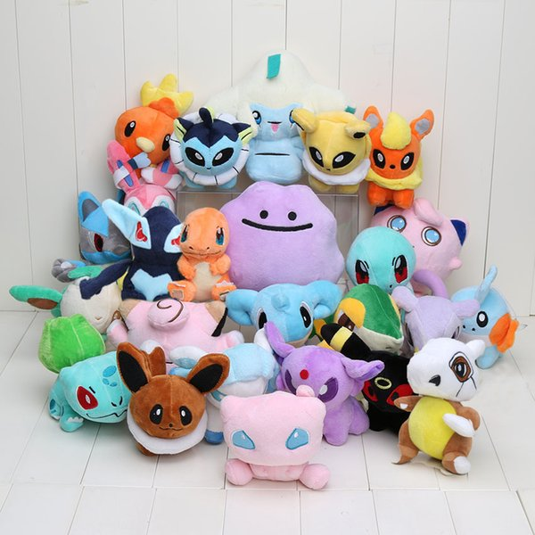25Pcs /Lot Pocket Doll Ditto Snivy Lucario Mew Torchic Jirachi Eevee Glaceon Sylveon Plush Toy Stuffed Toy Animal Plush Doll