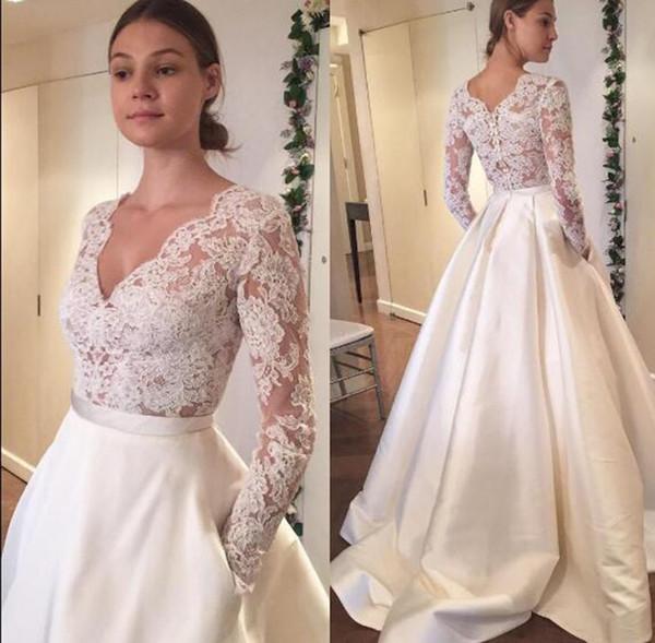 2019 New V Neck White Ivory Long Sleeves Wedding Wraps Jackets Bolero Shawl Lace Appliques Tops Custom Size Bridal Jacket