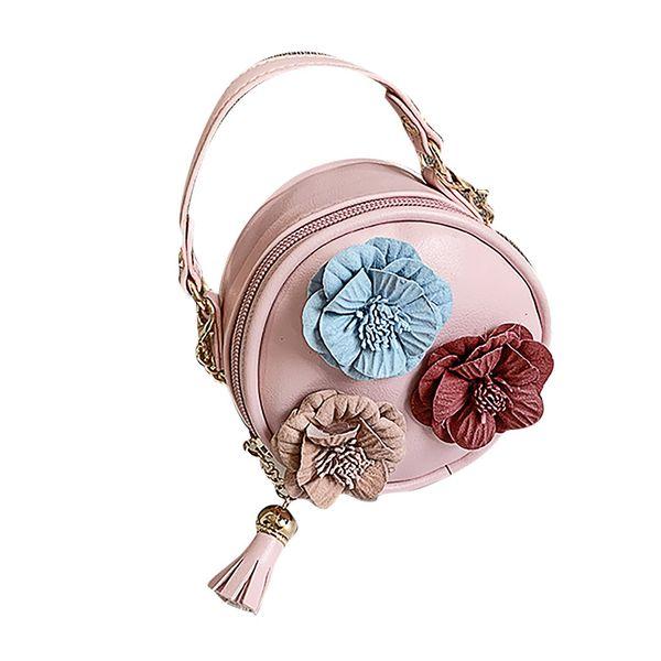 bags for women 2019 Children Flowers Leather Circular Bag Flower Tassels Shoulder Messenger Bag taschen#25