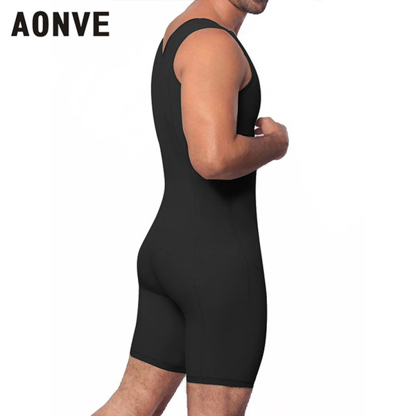 Aonve Men Bodysuit Plus Size Body Shaper Hombre Body Slimming Leotard Zipper Open Crotch Shapewaer Sleeveless Shapers