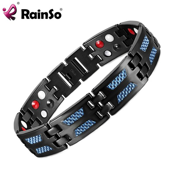 Rainso Titanium Health Magnetic Bracelet Blue Color 4 Elements High Quality Luxury Bangles & Bracelets Gift For Men Dropshipping Y19051101