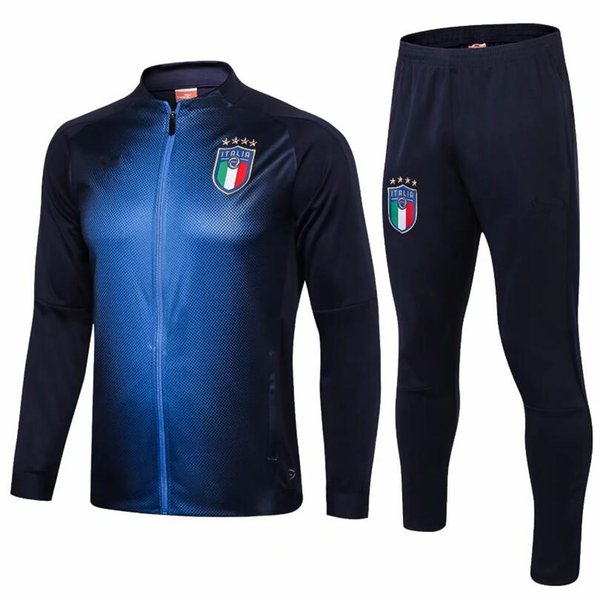 TOP Chaqueta de fútbol de Tailandia Italia, equipo nacional 2018 VERRATTI MARCHISIO Chaqueta de manga larga con cremallera completa Kits Chandal Camisetas de fútbol
