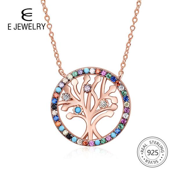 E jóias árvore da vida prata 925 pingente de colar de rosa banhado a ouro arco-íris cz zircon colares para a família jewellry presente 2019 j190705