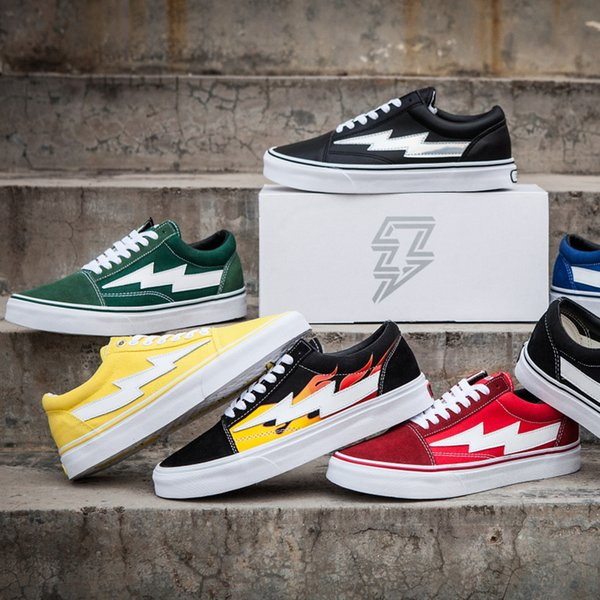 2018wsx New Revenge A Storm Old Skool Canvas Designer Sneakers Womens Men Low Cut Skateboard Yellow Red Blue White Black Casual Shoes