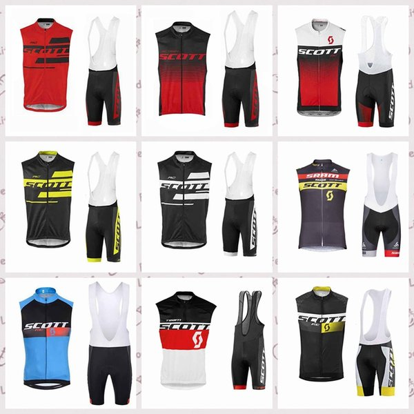 SCOTT team Cycling Sleeveless jersey Vest bib shorts sets Breathable Quick Dry Polyester Outdoor sportswear summer mens Q52731