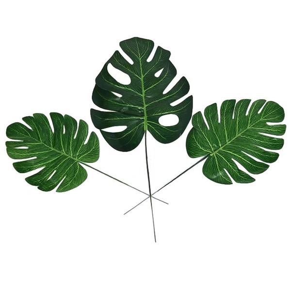 20 unids Fake Faux Artificial Tropical Palm Leaves Green Monstera Leaves para el Hogar Cocina Party Decoraciones Artesanía boda DIY