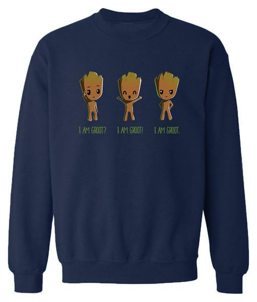 Men's Sweatshirt Print I'm Groot Cartoon Streetwear Hoody 2019 Autumn Winter Fleece Pullover Harajuku Hoodies For Men Coats Tops