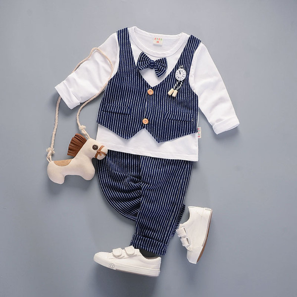 Spring 2pcs/set Boy's Cotton Long Sleeve T-Shirt Casual Pants Little Boys Clothing Set 1-4T Children's Clothing Sets (no shoes)