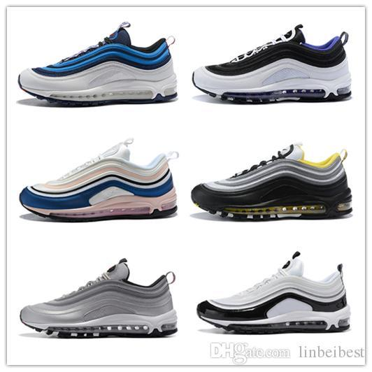 Designer 97s Plus Tn Triple White Black Pink Running Shoes OG Metallic Gold Silver Bullet Mens Trainers Sports Shoe Sneakers 40-45