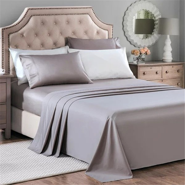 100% Egyptian Cotton Bedding Australia King Size Gray Color Flat Fitted sheets Pillowcases Small Wholesale