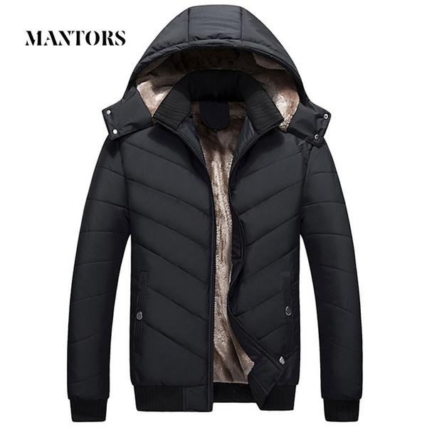 Invierno de los hombres de la chaqueta Parka cálida lana casual para hombre de la capa encapuchada del algodón delgado gruesa abajo chaqueta masculina de la cremallera Sobrepasa a Casacos