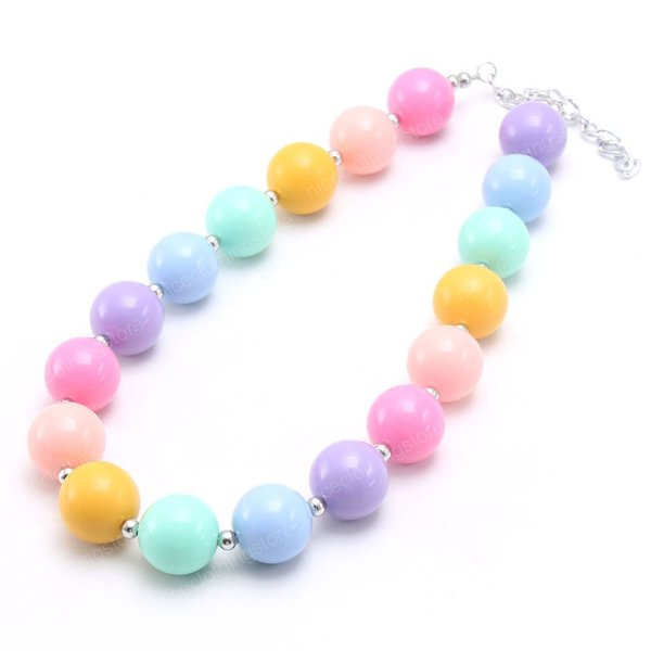 top popular Candy color baby kids chunky beads necklace cute girl child bubblegum chunky necklace handmade fashion style for gift 2021