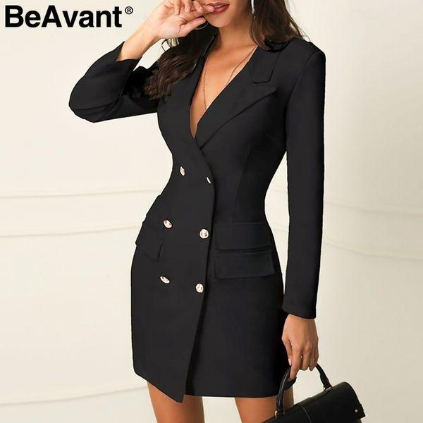 Beavant Elegant Black Women Blazer Short Office Long Sleeve Dress Plus Size Double Breasted White Suit Ladies Dresses Q190529