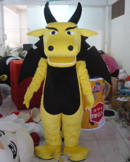 SX0723 100% real photos of yellow dragon mascot costume with wings for adult to wear for sale