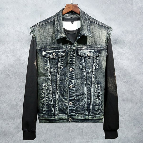 New men's denim vest tide male wash embroidery eagle foreign trade denim clothes foreign trade men's clothing coat pullover jackets