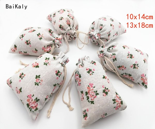 100pcs/lot Flower Printing Bag Cotton Linen Bag Drawstring Jewellery Pouch Wedding Party Favor Supplies Gift Packaging Bags