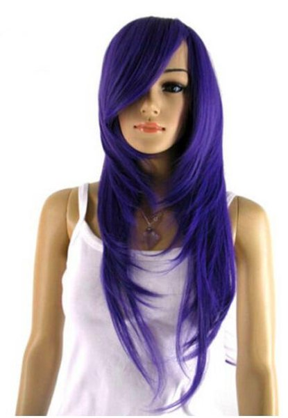 FREE SHIPPING++ + Fashion Diy-wig Women Purple Straight Heat Resistant Cosplay Long Hair Full Wig