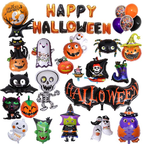 Giocattoli gonfiabili per bambini 50pcs / lot T2I5387 dei palloncini della decorazione di Halloween dell'aerostato di scheletro della zucca del pipistrello dei palloni di Halloween