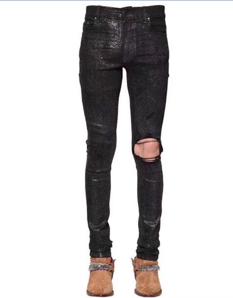 hot Mens jeans 2019 new Men's casual black holes biker jeans for moto Male slim stretch denim pants Long trousers 28-36